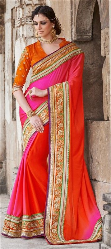 151321, Party Wear Sarees, Embroidered Sarees, Georgette, Border, Thread, Machine Embroidery, Red and Maroon, Pink and Majenta Color Family