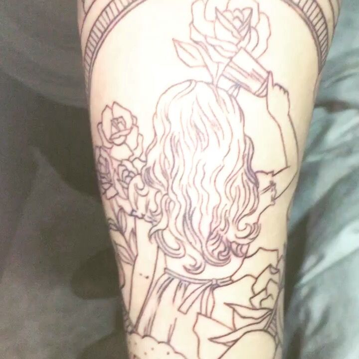 Through the looking glass inspired tattoo sleeve for Looking glass tattoos