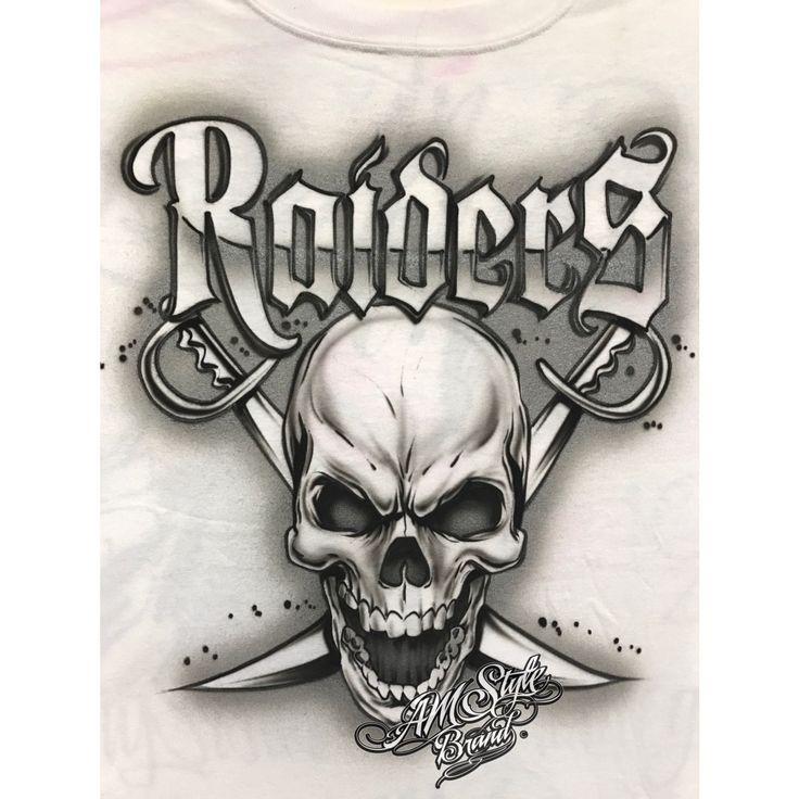 Airbrush Raiders Shirt, Los Angeles Raiders, Skull and Bandana Design for Raiders Fans.