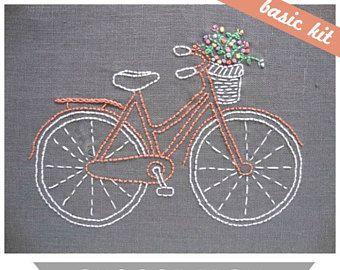 Kit de broderie débutant, kit de broderie à la main, motif de broderie à la main, broderie débutant, kit de broderie facile, motif de broderie de vélo