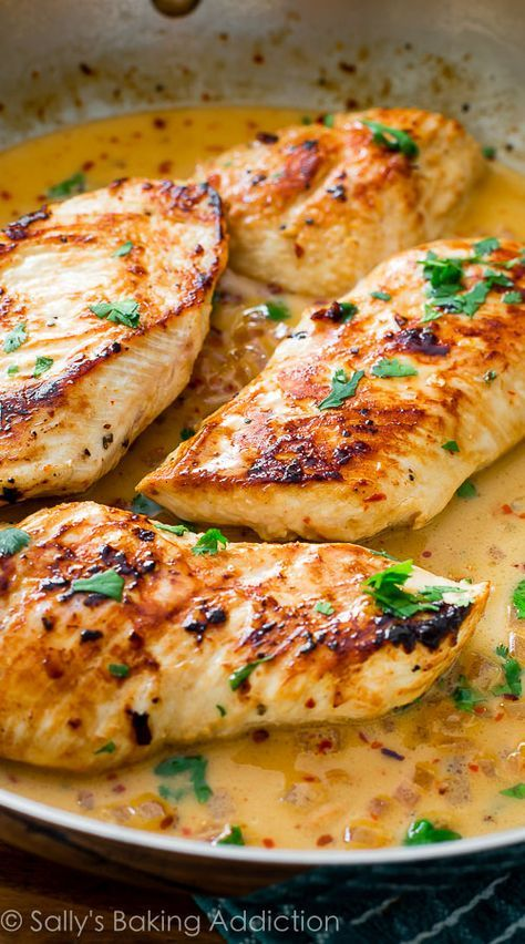 Love this-- made it 3x in one week! Crispy skillet chicken with the creamiest, most flavorful sauce.