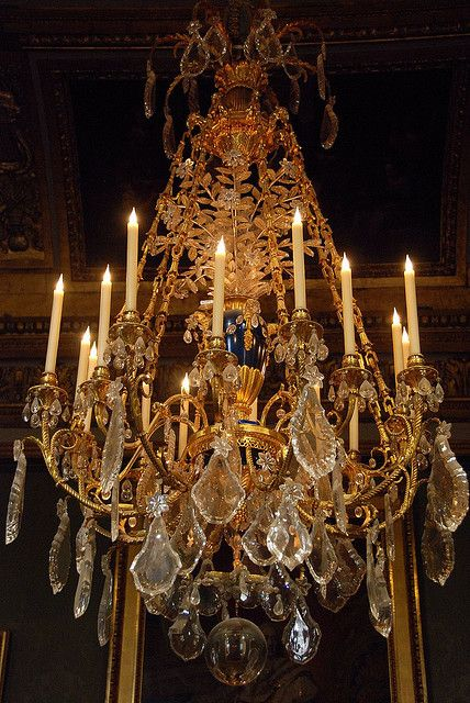 A Chandelier in the King,s Apartment, behind the Hall of Mirrors, Palace of Versailles, France