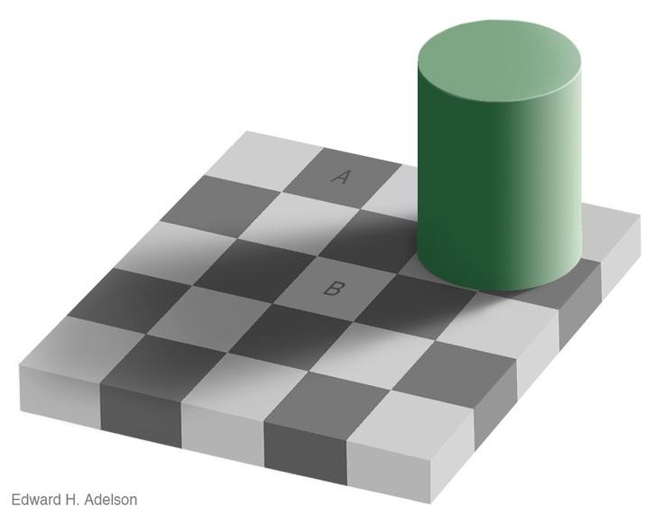 trompe l'oeil AとBのタイルが同じ色 だそうです。