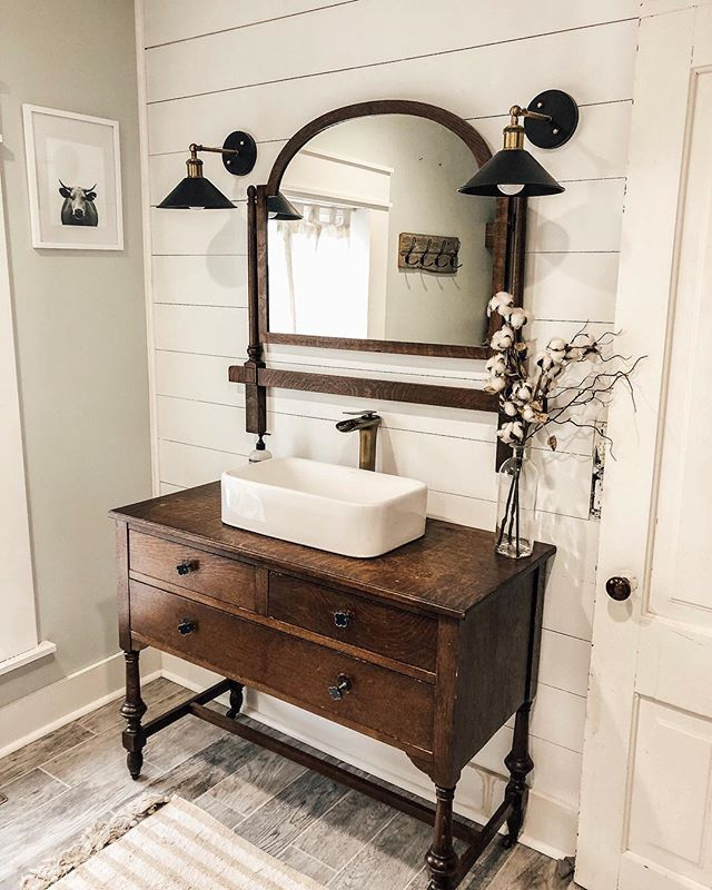 Gives Me Ideas Not For A Sink Or Faucet But For A Hallway Sitting Room Or Dining Room Side Table Diy Bathroom Makeover Diy Bathroom Vanity Bathroom Makeover