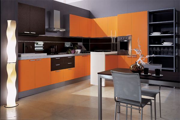 touch of orange cabinets: Kitchens Design, Orange Kitchens, Cabinets Idea, Black Kitchens, Floors Lamps, Modern Kitchens Cabinets, Kitchens Doors, Kitchens Color, Contemporary Design