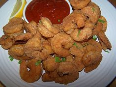 Oven fried shrimp....remember that the paprika helps to facilitate the golden color of the finished shrimp.