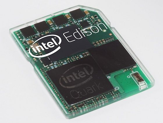 "Intel-edison-560 - ""a full Pentium-class PC"" that's the size and shape of the SD card you might otherwise put in your camera. It's powered by a dual-core Quark SOC, runs Linux, and has built-in Wi-Fi and Bluetooth connectivity..... just waiting to hear about power consumption & cost"