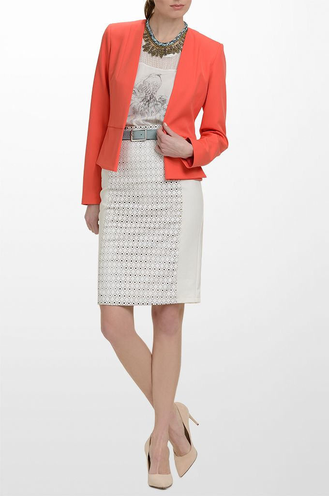 Sarah Lawrence - long sleeve blazer with hidden button, sleeveless printed top with combination of two fabrics, laser cut pencil skirt with combination of two fabrics, leather belt, necklace.