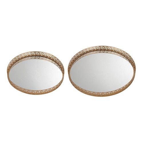 Set of 2 Mirrored Greek Key Tray - 172-012/S2