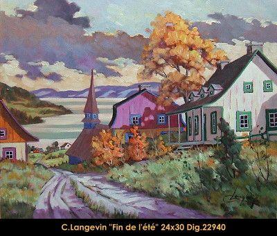Claude Langevin original oil painting on canevas #claudelangevin #art #artist #canadianartist #quebecartist #originalpainting #oilpainting #countryscene #automnscene #houses #balcondart #multiartltee