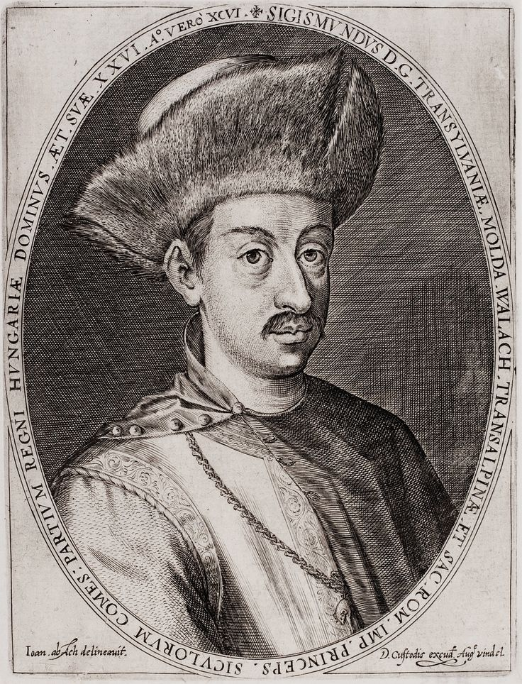 Sigismund Báthory, Prince of Transylvania by Dominicus Custos after Hans von Aachen, 1599 (PD-art/old), Herzog August Bibliothek; after abdication he settled in Poland between 1599 and 1601, being a homosexual he divorced Maria Christierna of Austria, sister of Queen Anne of Austria and Queen Constance of Austria, in 1599