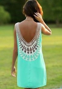 Blue Plain Patchwork Lace Round Neck Sleeveless Cotton Mini Dress