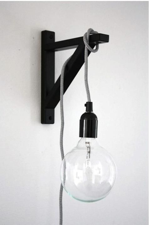 An Ekby Stilig bracket from Ikea, paint it black, loop a Swedish NUD Classic Pendant around it, and voilà, instant bracket pendant.