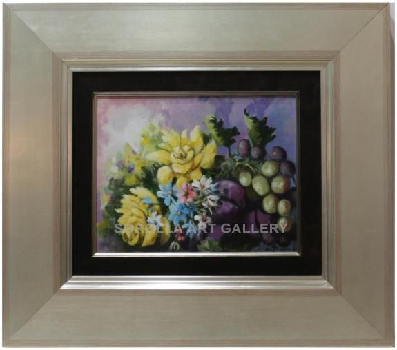 Jose Antonio Borrás : Still life. Medium: Oil on wood Measurements (cm): 49x44 Canvas measurements (cm): 27x22 Interior frame: Yes.  Excellent work with courageous colouring, on a different theme from what we are accustomed to see from this excellent painter$263.99