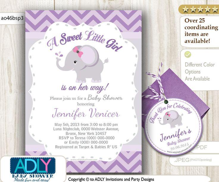 Grey Purple Elephant Invitation Baby Shower por adlyowlinvitations