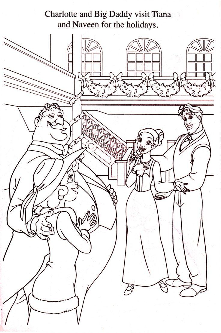 Princess holiday coloring pages - Princess And The Frog Christmas Coloring Page Disney