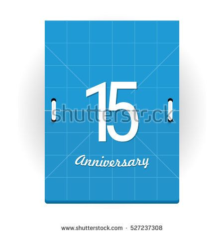 15 Years Anniversary Logo Designed like Flip Calendar