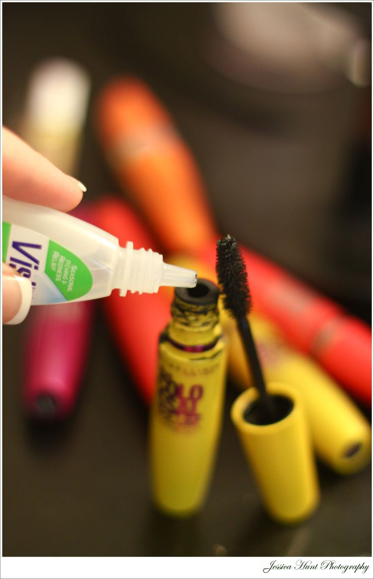 Add 4 to 5 drops of eyedrops to the bottle. Insert your wand and stir ... Fresh Mascara!