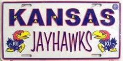 University Of Kansas Jayhawks Collegiate Embossed Vanity Metal Novelty License Plate Tag Sign 2459