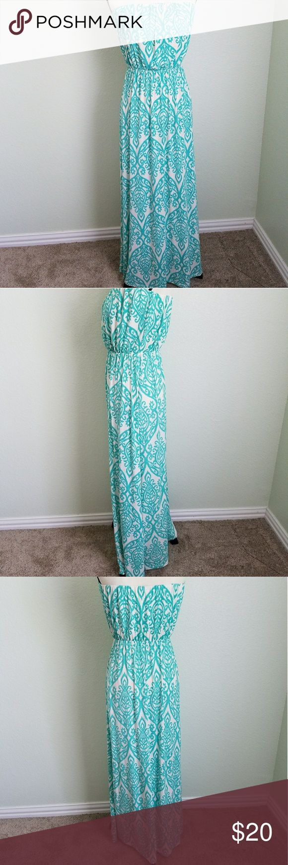 {Fashionomics} Strapless Maxi Dress Size Large Length - 53 inches  Chest - 4 inches (measured flat) Photos are the description of this article.  Any flaws will be pointed out and noted.  Otherwise this article is in excellent condition. Dresses Strapless