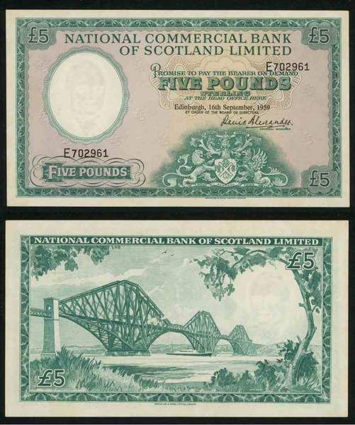 1959 National Commercial Bank of Scotland Five Pounds Banknote Pick Number 266 A Beautiful Extremely Fine or Much Better Currency