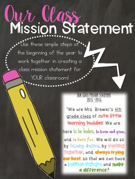 This download give you EVERYTHING you need to create a class mission statement together with your students, as well as the tools they need to create their own personal mission statements. This is a GREAT resource to use with the Leader in Me program/7Habits of Happy kids.