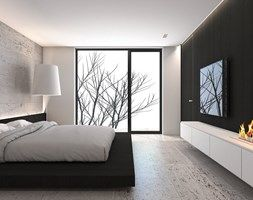 Dom jednorodzinny X / Tarnowskie Góry. - Duża sypialnia małżeńska z balkonem / tarasem, styl minimalistyczny - zdjęcie od A2 STUDIO pracownia architektury