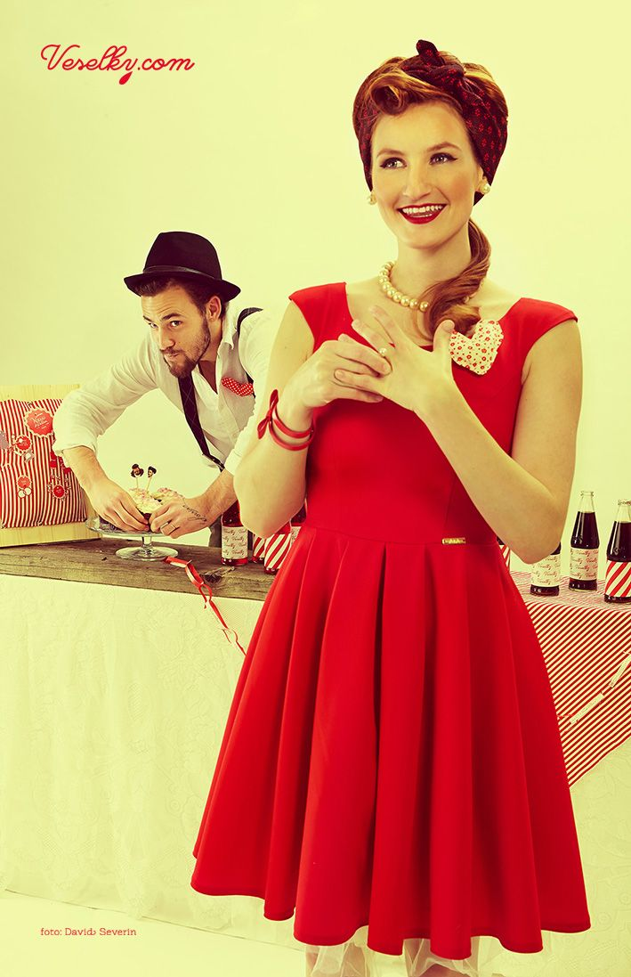 Pin-up wedding, wedding,bride, groom woman, pin up, pin-up, veselky.com, veselky, pin, red, style, dress, hairstyle, 50s, 1950, modern, unusual , couple, photo, image, hat, studio, heart, david severin, jane bond special, love fashion, photo severin, retro, diy, czech republic, simplicity, patern, man, braces, design, czech design , eat, food