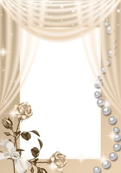 Cream PNG Roses Frame.