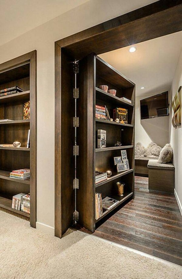 A secret room...just put a bookcase in instead if a door! Interesting!