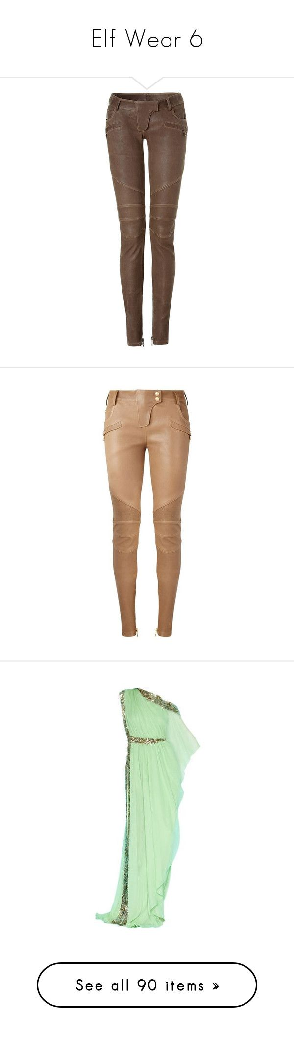 """Elf Wear 6"" by summersurf2014 ❤ liked on Polyvore featuring pants, bottoms, jeans, trousers, leather motorcycle pants, zipper pocket pants, low rise pants, cropped leather pants, low rise leather pants and balmain"