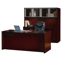 Luxury executive office desk configuration from the Mayline Corsica collection. #Mayline #Office #Desks