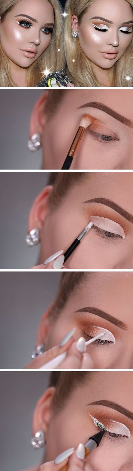 White Cut Crease & Diamond Eyeliner | Awesome Prom Makeup Ideas for Blue Eyes | DIY New Years Eve Makeup Looks Eyeshadows