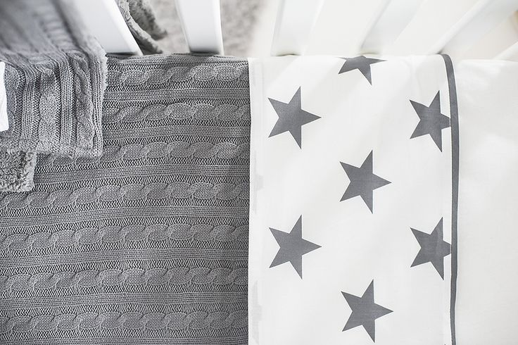 Sheet Little star grey and blanket Cable grey by Jollein
