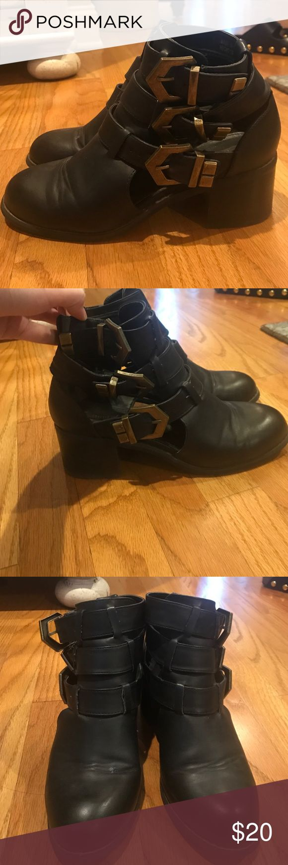 Black Buckle Ankle Boots These boots are in good condition, and are very comfortable. No scuffs or any damage, but they are broken in. Forever 21 Shoes Ankle Boots & Booties