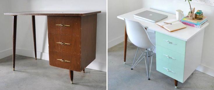Ancien bureau repeint dans des teintes claires et modernes