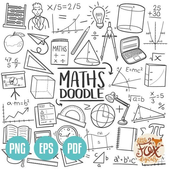 VECTOR EPS Mathematics Maths Subject School Learn Doodle Icons Clipart Scrapbook Set Hand Drawn Line