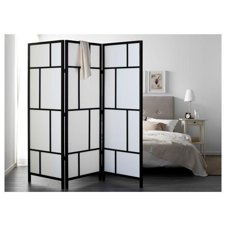 RISOR paravan beyaz-siyah 216x185 cm | IKEA Yatak Odaları