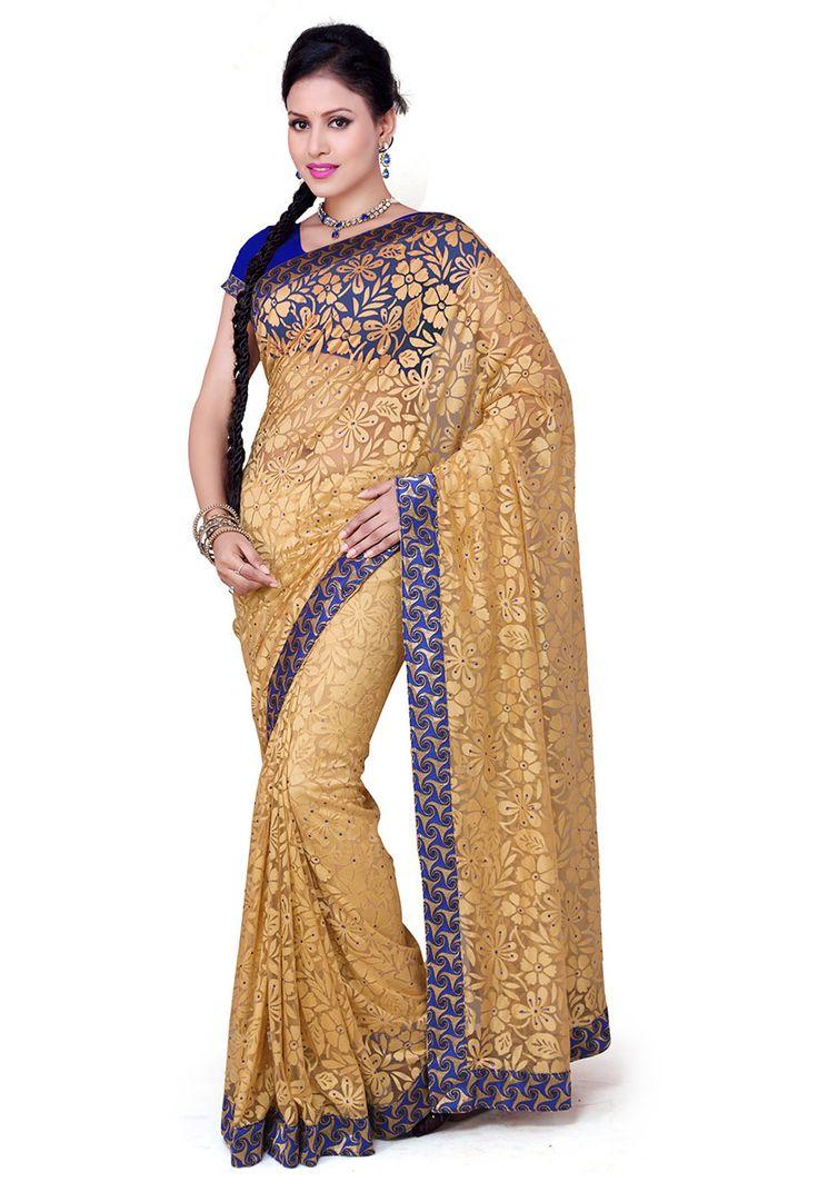 $43: Buy Beige Net Brasso Saree with Blouse online, work: Brasso, color: Beige, usage: Party, category: Sarees, fabric: Net, price: $43.17, item code: SSX5167, gender: women, brand: Utsav