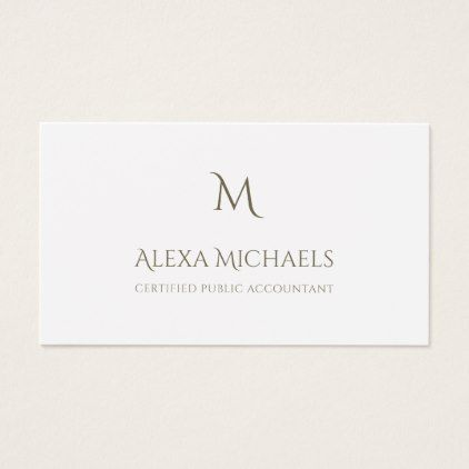 Simple Monogram Certified Public Accountant Business Card - #customizable create your own personalize diy