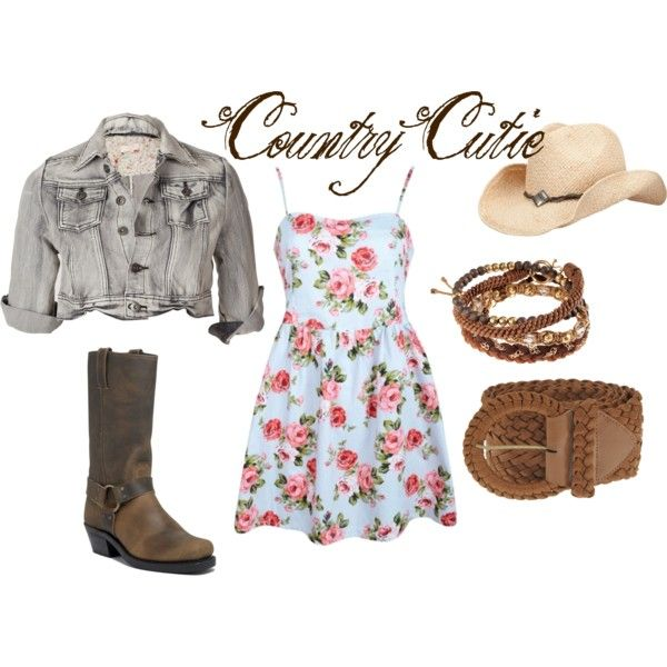 Country Cutie, created by Jasfletchr on Polyvore. Cute country dress and boots! So cute I want this!