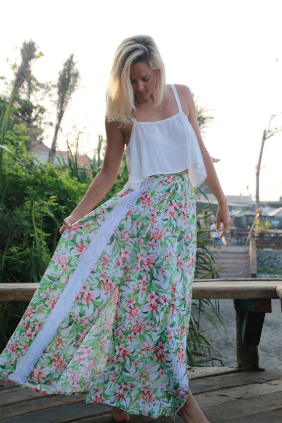 Floral Lily Maxi Split Skirt  High Side Splits Long by ljcdesignss