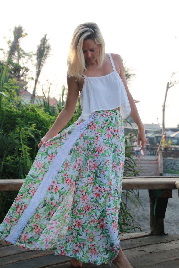 Floral Lily Maxi Split Skirt  High Side Splits Long by ljcdesignss