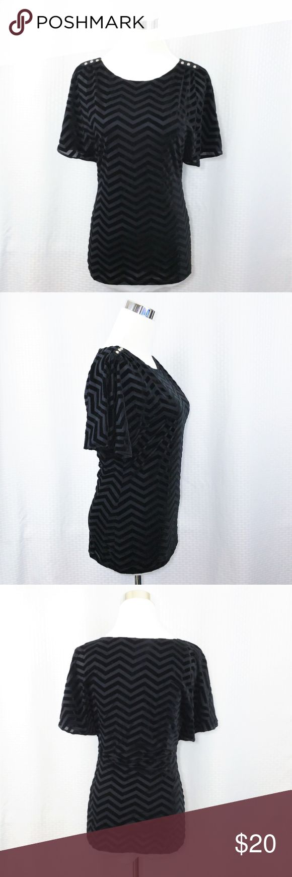 WHBM XS Black Velvet Chevron Blouse Batwing Top White House Black Market Top Womens XS Black Velvet Chevron Blouse Batwing  Condition: Excellent Pre-Owned Condition  Measurements When Laid Flat:   Armpit to Armpit: 17 inches across  Length: 24.5 inches long  Waist: 14 inches  Sleeve Length: 11 inches  Bottom Hem: 17 inches White House Black Market Tops Blouses
