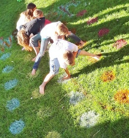 Spray paint a game of Twister on the lawn for parties