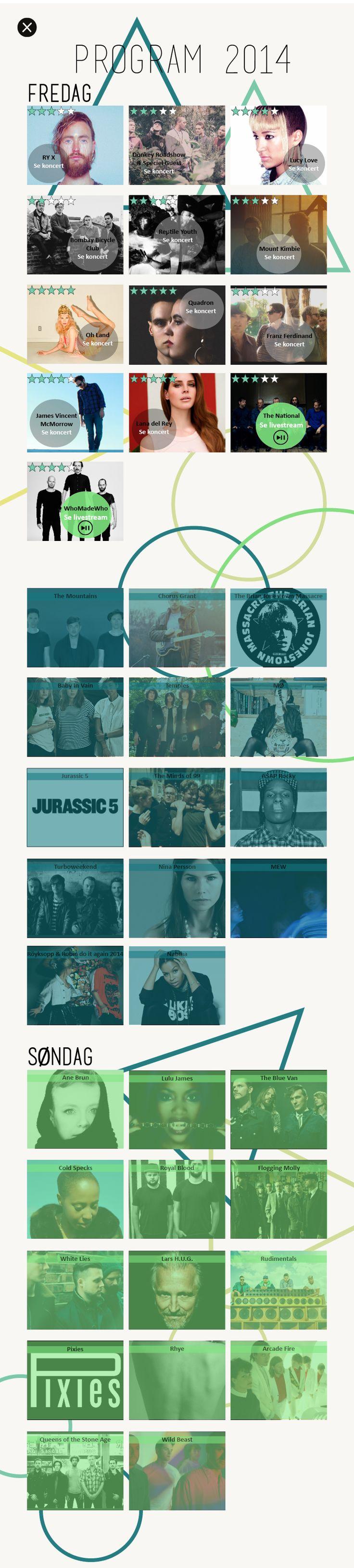 Program oversigt for Northside 2014, interaktivt ipad magasin. By Kia Lange.