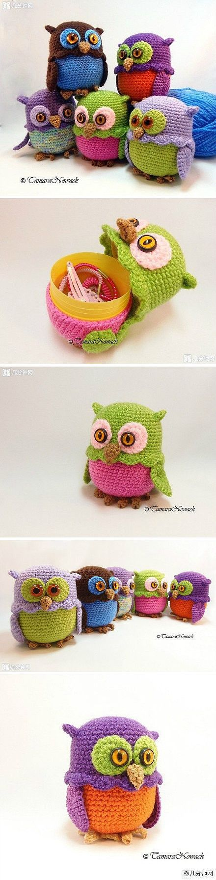 Crochet Owl cozy for plastic eggs ∙•❣•∙ Easter ∙•❣•∙ Cute storage idea for nick nacks or small, loose items.