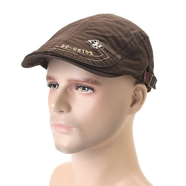 High-quality Men s Cotton Embroidery Adjustable Beret Cap Duck Hat Sunshade  Casual Outdoors Peaked Forward 186cc0f5142