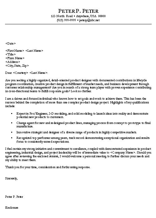 engineer cover letter example - Sample Cover Letter Product Manager
