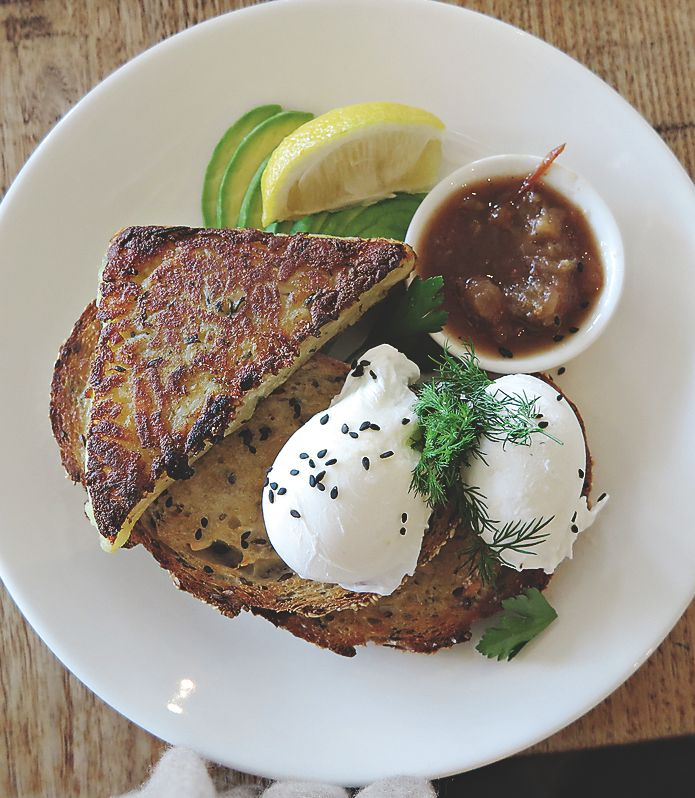 Spoilt for choice at Mixed Business, but we chose well: poached eggs with rosti and avocado.  Delicious.  Photo by Virginia Millen.